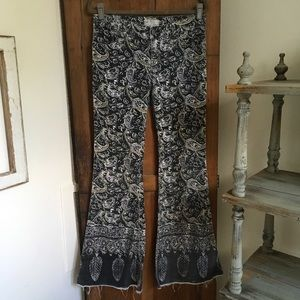 Free People Printed Corduroy Flare